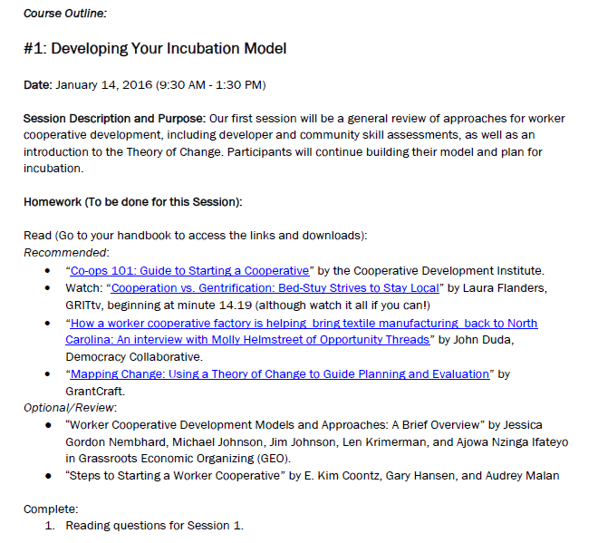 NYC Worker Cooperative Development Initiative Course Syllabus: Implementers