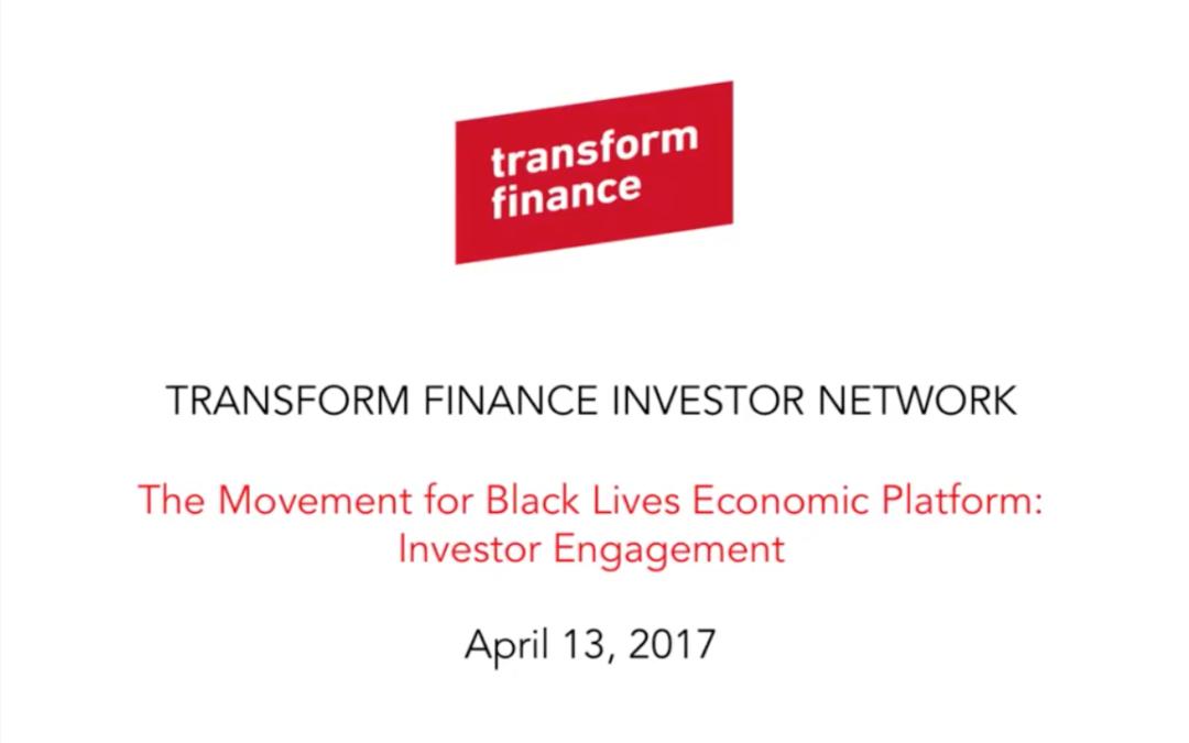 TFIN Webinar: The Movement for Black Lives Economic Platform: The Role of Investors