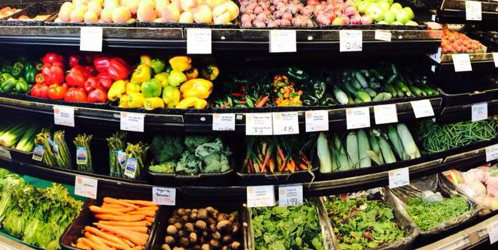 Produce aisle of Mandela Foods Cooperative, Oakland, CA