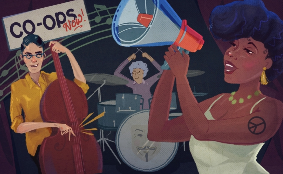 "Intergenerational band jamming out with a ""Co-Ops Now"" sign in the background. Illustration by Jennifer Luxton for Yes! Magazine."
