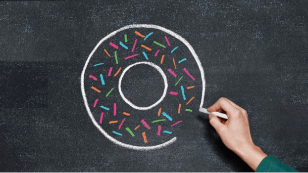 Kate Raworth Doughnut Economics Book Cover: blackboard chalk drawing of doughnut