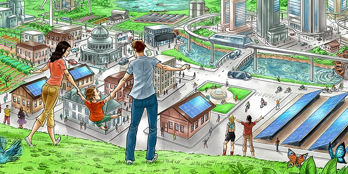 Illustration of a family standing in front of a futuristic city, featuring solar panels, high-speed rail lines and a mix of residential and commercial businesses. Other people are visible in the city.